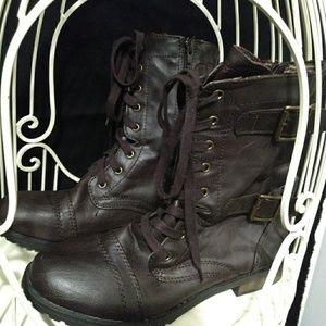 Sey Esteem Brand Buckle Combat Boots